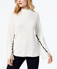 Style & Co Lace-Up-Sleeve Sweater, Created for Macy's