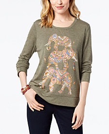 Style & Co Elephants Graphic-Print Sweatshirt, Created for Macy's