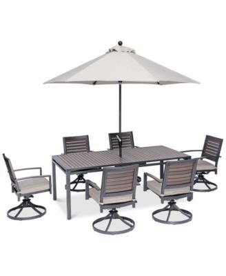 "Marlough II Outdoor Aluminum 7-Pc. Dining Set (84"" x 42"" Dining Table and 6 Swivel Rockers) with Sunbrella® Cushions, Created for Macy's"