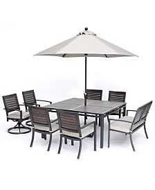 "Marlough II Outdoor Aluminum 8-Pc. Dining Set (62"" Square Dining Table, 4 Dining Chairs, 2 Swivel Rockers and 1 52"" Dining Bench) with Sunbrella Cushions, Created for Macy's"