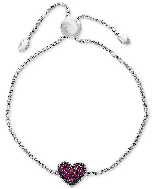EFFY Collection EFFY® Certified Ruby Cluster Slider Bracelet (5/8 ct. t.w.) in Sterling Silver