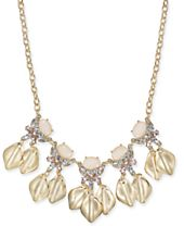 """I.N.C. Gold-Tone Stone & Crystal Petal Statement Necklace, 17"""" + 3"""" extender, Created for Macy's"""
