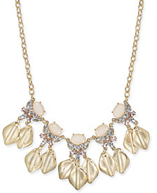 "I.N.C. Gold-Tone Stone & Crystal Petal Statement Necklace, 17"" + 3"" extender, Created for Macy's"
