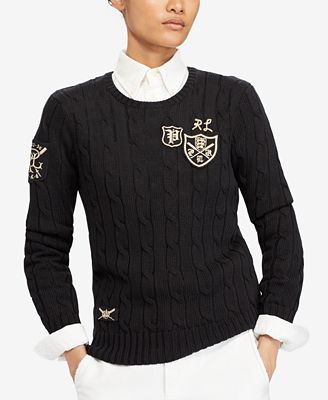 Polo Ralph Lauren Patchwork Cable Knit Sweater Sweaters Women