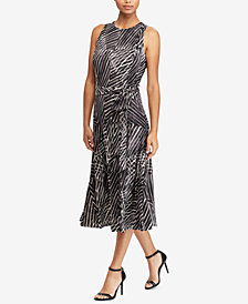 Lauren Ralph Lauren Print Crew-neck Dress