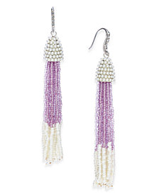 I.N.C. Bead & Pavé Tassel Drop Earrings, Created for Macy's