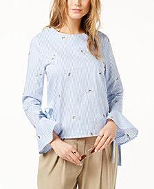 J.O.A. Cotton Striped Button-Back Blouse