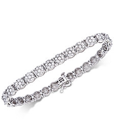 Diamond Floral Cluster Tennis Bracelet (4 ct. t.w.) in 14k White Gold