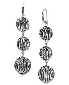 I.N.C. Beaded Sphere Triple Drop Earrings, Created for Macy's