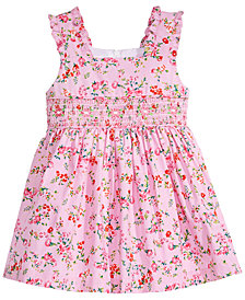 Bonnie Baby Ditsy Floral-Print Smocked Dress, Baby Girls