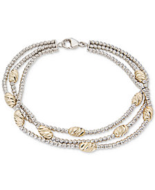 Giani Bernini Two-Tone Beaded Multi-Row Bracelet in Sterling Silver & 18k Gold-Plate, Created for Macy's