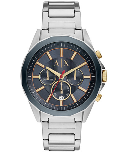 A|X Armani Exchange Men's Chronograph Stainless Steel Bracelet Watch 44mm