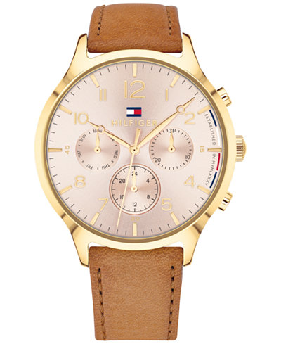 Tommy Hilfiger Women's Camel Leather Strap Watch 38mm, Created for Macy's