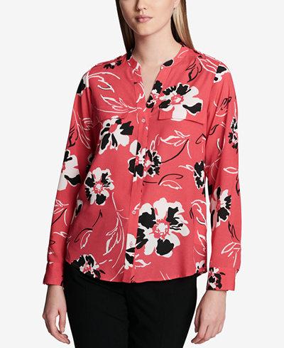 Calvin Klein Floral-Print Y-Neck Blouse