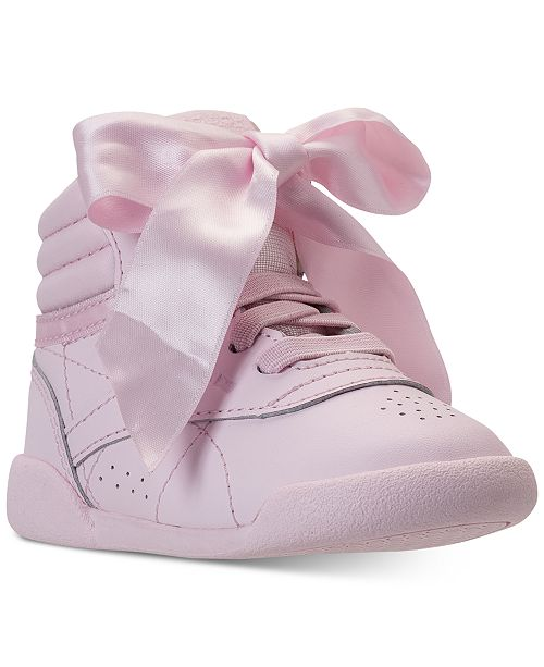 3837a14419f15 ... Reebok Toddler Girls  Freestyle Hi Satin Bow Casual Sneakers from  Finish ...