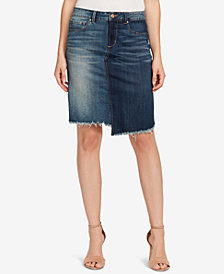 Vintage America Petite Frayed-Hem Denim Skirt