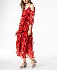 Bar III Printed Ruffle Cold-Shoulder Maxi Dress, Created for Macy's