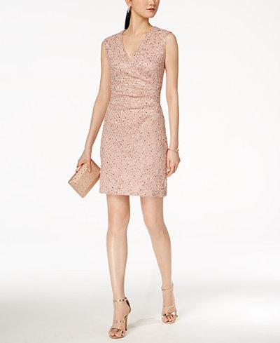 Connected Petite Sequined Lace Surplice Dress