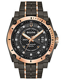Bulova Men's Precisionist Champlain Diamond-Accent Gray & Rose Gold-Tone Stainless Steel Bracelet Watch 46.5mm