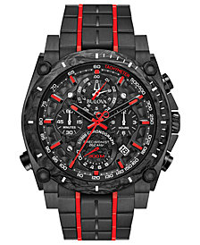 Bulova Men's Chronograph Precisionist Champlain Black & Red Stainless Steel Bracelet Watch 48.5mm