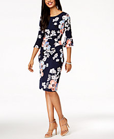 Connected Petite Ruched Bell-Sleeve Dress