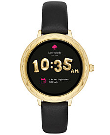 kate spade new york Women's Scallop Black Leather Strap Touchscreen Smart Watch 42mm