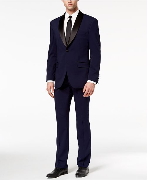 Perry Ellis Men's Slim-Fit Stretch Navy Shawl-Collar Tuxedo