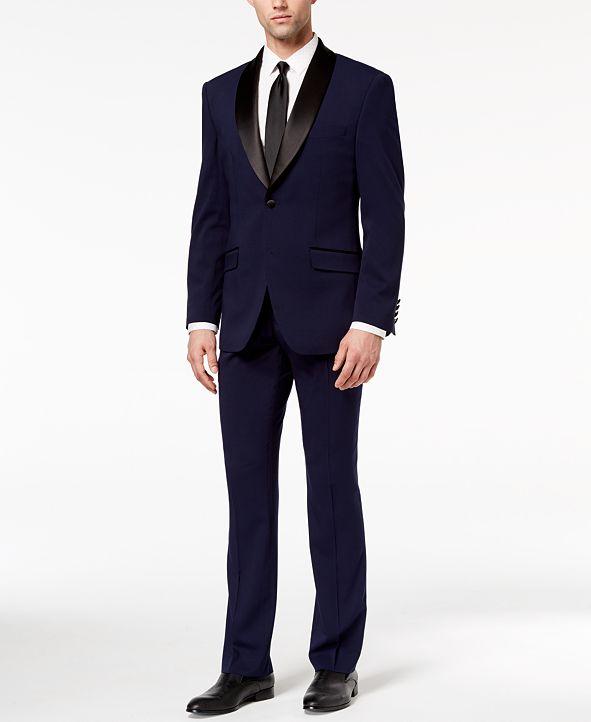Perry Ellis Men's Slim-Fit Stretch Navy Shawl-Collar Tuxedo