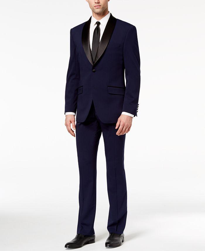 Perry Ellis - Men's Slim-Fit Stretch Navy Shawl-Collar Tuxedo