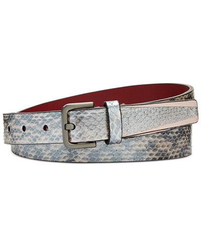 Calvin Klein Pearlized Snake-Embossed Leather Belt