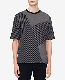 Calvin Klein Men's Drop-Shoulder Pieced Stripe T-Shirt