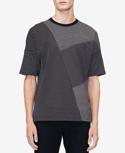 Calvin Klein Men's Drop-Shoulder Pieced Stripe T-Shirt