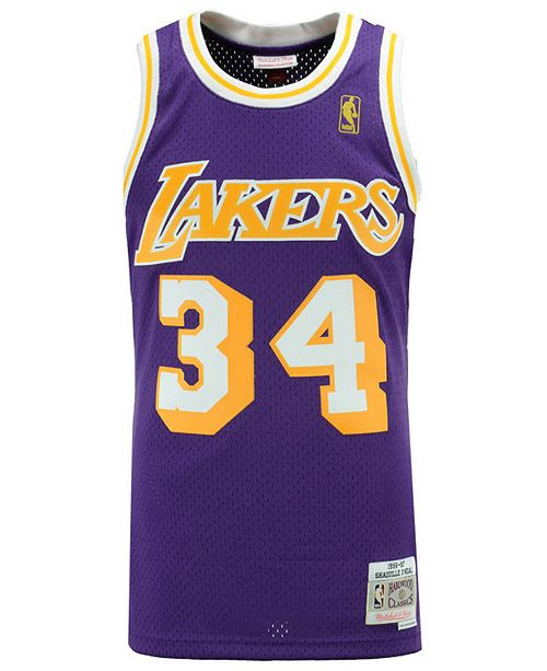 2946ea07 Mitchell & Ness Men's Shaquille O'Neal Los Angeles Lakers Hardwood Classic  Swingman Jersey ...