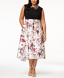 SL Fashions Plus Size Floral-Print & Solid Necklace Dress