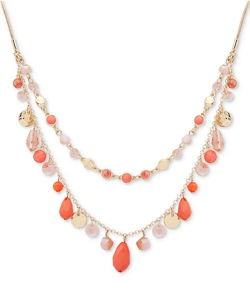 "Nine West Gold-Tone Colored Stone & Bead 18"" Double-Layer Necklace"