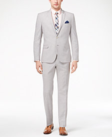 Nick Graham Men's Slim-Fit Stretch Light Gray Solid Suit