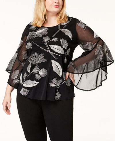 Alfani Plus Size Bell-Sleeve Illusion Top, Created for Macy's
