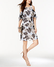 I.N.C. Petite Printed Cold-Shoulder Dress, Created for Macy's