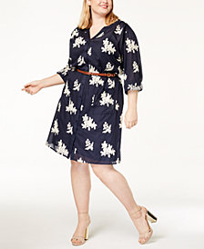 ECI Plus Size Belted Shirtdress