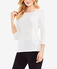 Vince Camuto Ribbed Side-Corset Sweater