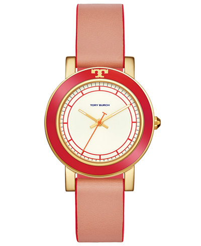 Tory Burch Women's Ellsworth Coral Leather Strap Watch 36mm