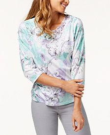 Alfred Dunner Petite Roman Holiday Lace-Trim T-Shirt