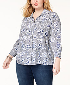 I.N.C. Plus Size Printed Shirt, Created for Macy's