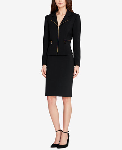Tahari ASL Zip-Up Skirt Suit