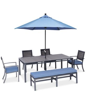 """Harlough II Outdoor 6-Pc. Dining Set (84"""" x 42"""" Dining Table, 4 Dining Chairs and 1 Armless Bench) with Sunbrella® Cushions, Created for Macy's"""