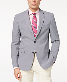 CLOSEOUT! Tommy Hilfiger Men's Modern-Fit TH Flex Stretch Blue/White Mini-Check Sport Coat