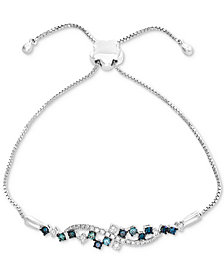 EFFY® Shades of Bleu  Diamond Cluster Slider Bracelet (3/4 ct. t.w.) in 14k White Gold