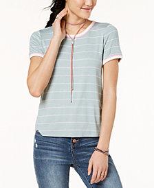 Hippie Rose Juniors' Striped Ringer T-Shirt
