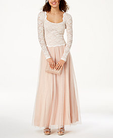 Jump Juniors' Lace-Top Tulle-Skirt 2-Pc. Gown