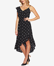 1.STATE One-Shoulder Polka Dot Flounce Dress